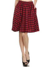 Red Check Cotton Flared Full Skirt - Work or Play - Vintage Inspired - H... - £16.75 GBP