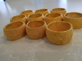 Napkin Rings Round Metal Textured Gold  Tone Set Of 10 - $15.83