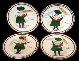 4 Kitchen Prep Whimsical Artistic Dancing Chefs w/Sayings Salad Plates NEW - $22.99
