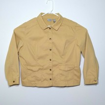 Chicos Mustard Yellow Snap Denim Jacket Sz3 Embellished - $14.52