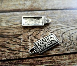 4 Quote Charms Antiqued Silver Word Pendant Set LAUGH OFTEN Inspirational - $1.51