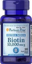 Puritans Pride Biotin 10000 Mcg Softgels, 100 Count image 1
