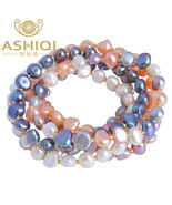 Celets for women multi color baroque pearl crystal beaded bracelets bangles fi jewelry thumbtall
