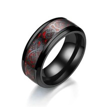 New Ring For Men Wedding Stainless Steel Band Fashion jewelry Dragon pattern red - $17.99