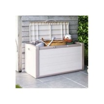 Large Outdoor Storage Box  Plastic Beige Patio ... - $135.80