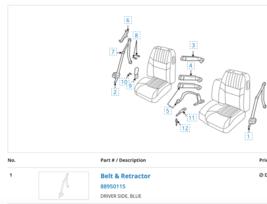 New OEM impala driver side blue seatbelt kit GM # 88950115 - $37.13