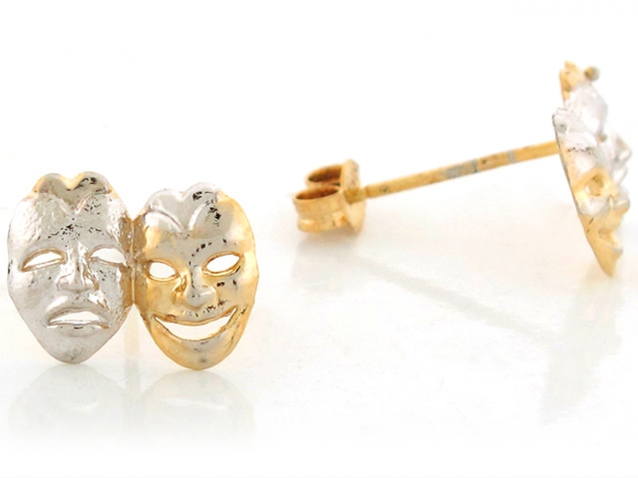 10K or 14K Two Tone Gold Drama Face Theater Mask Stud Earrings