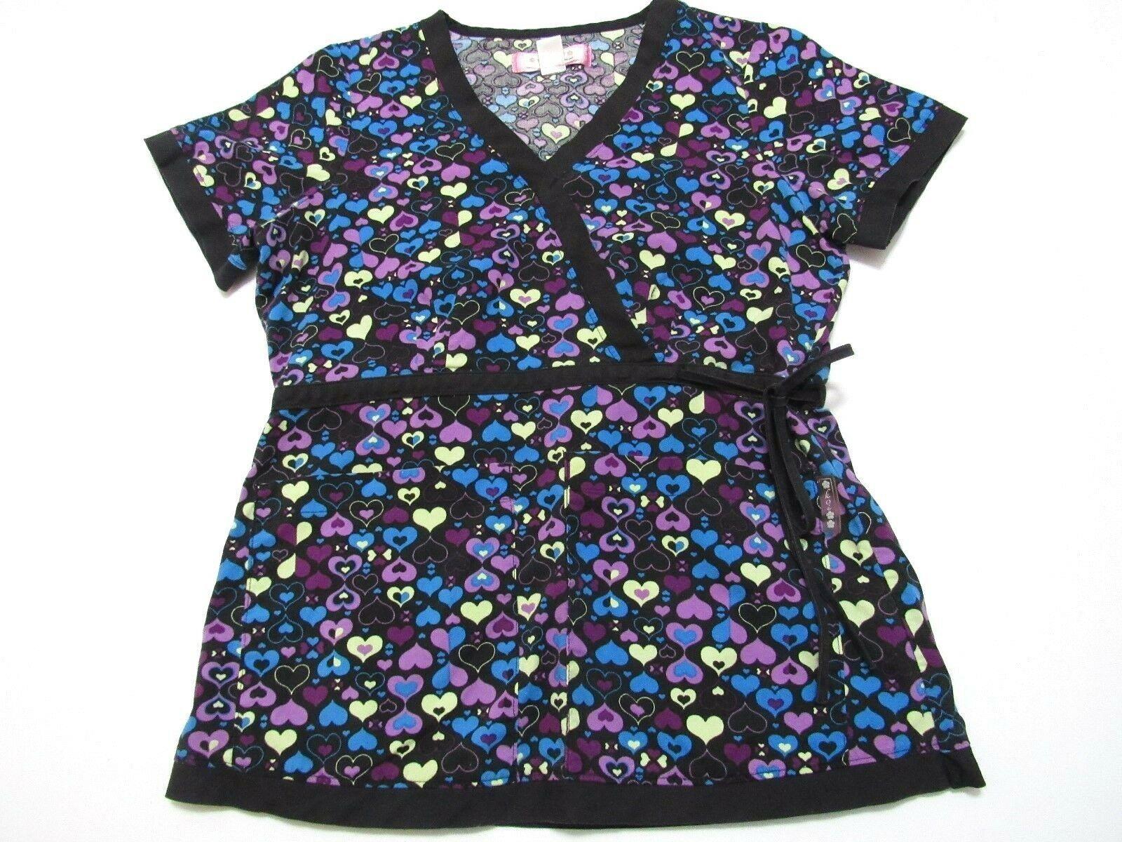 919e9965030 Koi by Kathy Peterson Scrub Top Women's XS Black Purple Blue Yellow Hearts  - $17.81