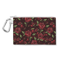 Red Rose With Thorns Canvas Zip Pouch - $15.99+
