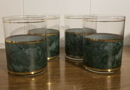 Retro Vintage MCM CULVER Green Gold Low Ball Glasses Set of 4 Lot Signed - $50.00