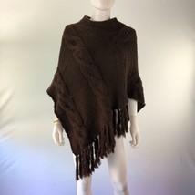 St. John's Bay Women's Medium Brown Full Collar Knitted Poncho Sweater - $39.60