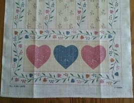 UNUSED PURE LINEN KITCHEN TOWEL ~ HEARTS & FLOWERS - $6.92