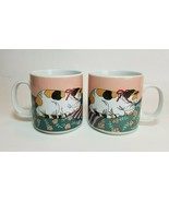 Vintage Silvestri Calico Kitty Cat Mary Lake Thompson Ceramic Mugs Set of 2 - $24.70