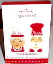 2015 Hallmark Tis The Seasoning #2 Series Ornament Salty Peppy Mr Mrs Claus - $16.82