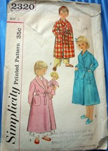 Simplicity Child's Robe & Stuffed Doll & Transfer  Size 2 #2320 - $5.99