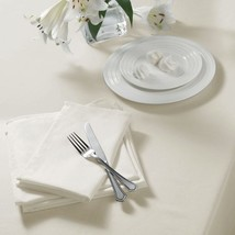 "PLAIN WOVEN CREAM SQUARE TABLECLOTH 52"" X 52"" (132CM X 132CM) - $18.17"