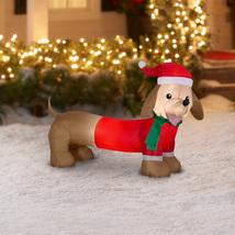 Christmas Yard Decor Dog Santa Hat Xmas Outdoor Decoration Airblown Infl... - $32.98