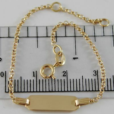 18K YELLOW GOLD KIDS BRACELET 5.90 ENGRAVING PLATE, MINI ROLO LINK MADE IN ITALY