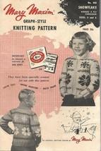 Mary Maxim Graph Style Knitting Pattern SNOWFLAKE Kiddies Cardigan #460 1954 - $9.89