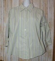 Womens Green Striped Eddie Bauer 3/4 Sleeve Shirt Size Large excellent - $7.91