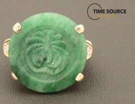 Jade & Diamond 14K Yellow Gold 10 gram Ring - $1,058.25
