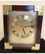 "Seiko Wood Table Clock  5""x6.5"" WORKS - $28.05"