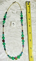 Rainbow Hematite Magnetic Cubes and Milky Green Glass Beaded Necklace      (#43)