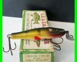 Vintage Creek Chub No. 901 Baby Pikie Glass Eyed Fishing Lure Perch Color w/ Box
