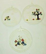 "White Lace & Embroidery Window Wall Hangings 3 Piece Set 8"" Round Flower... - $24.98"