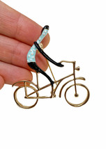 "2"" Wide Blue Polka Dot Shirt Cyclist Enameled Brooch Pin ""C"" Clasp Gift  - $13.30"