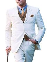 Leonardo Dicaprio Slim Fit Great Gatsby 3 Piece White Suit image 2