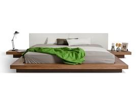 VIG Modrest Opal Low Profile Walnut White Japanese  King Bed w/Nightstands