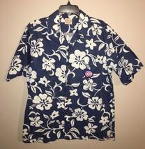 Barefoot in Paradise Hawaiian Shirt BLUE Wide Collar 100% Cotton Men MED... - $43.01