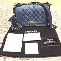 Authentic CHANEL Boy Matelasse Denim Quilted Chain Shoulder Bag Silver B... - $3,544.20