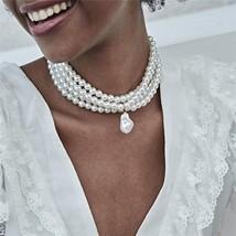 Ingemark Fashion Multilayer White Imitation Pearl Choker with Metal Slic... - $13.00
