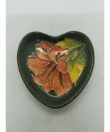 Moorcroft art pottery Heart Trinket Dish Hibiscus on Green - $48.86