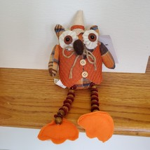 Owl Shelf Sitter, Plaid Fabric, wearing waistcoat and hat, bead legs, fall decor