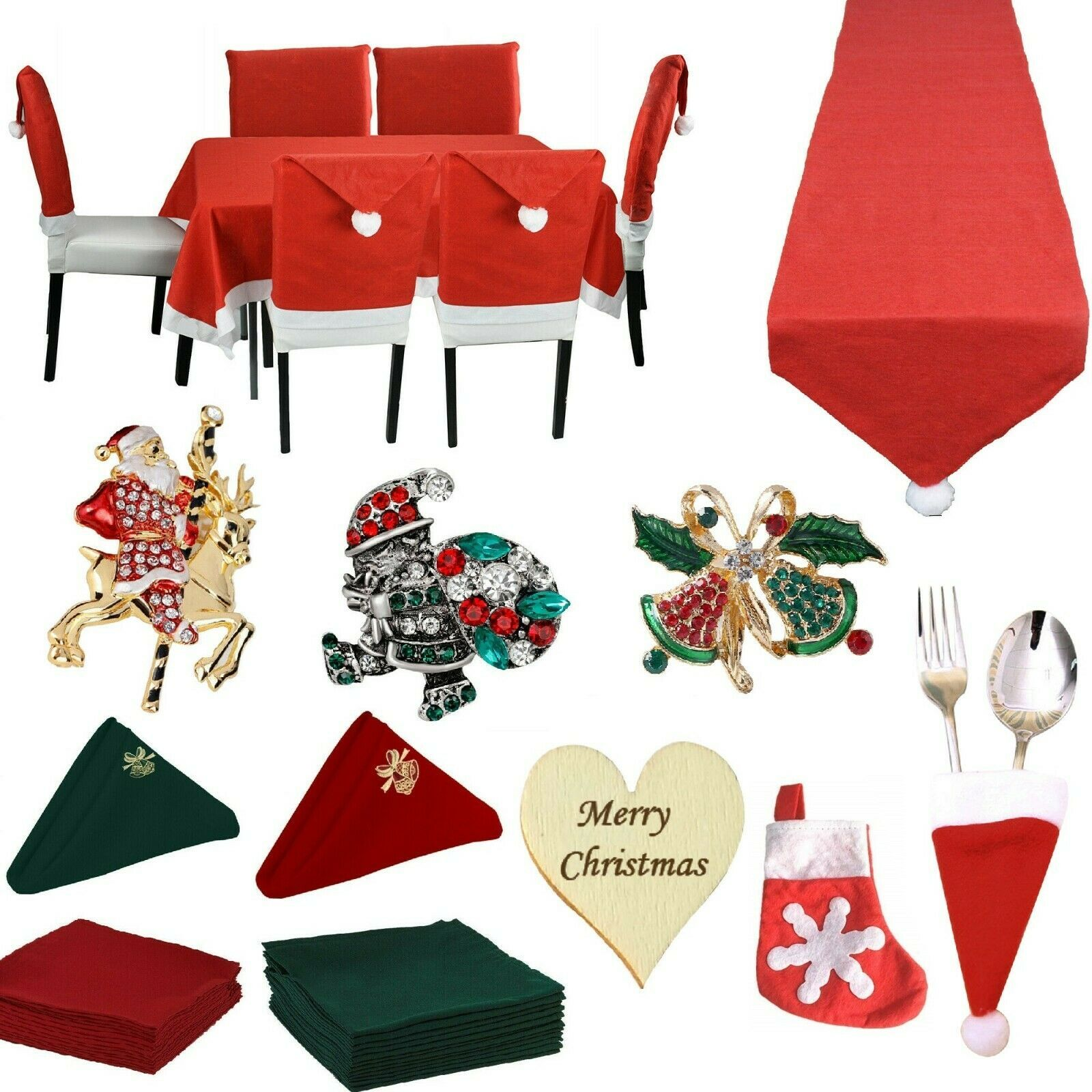Primary image for Christmas Tableware - Tablecloth Table Runner Napkins Chair Cover Cutlery Holder