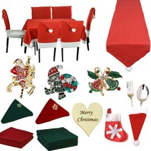 Christmas Tableware - Tablecloth Table Runner Napkins Chair Cover Cutler... - $2.80+