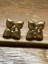 Estate Monet Signed Hammered Goldtone Flower Post Earrings for Pierced Ears –  - $12.19