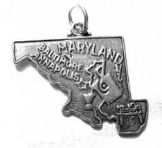 SALE Annapolis Maryland State Baltimore Map USA Silver Charm - $13.99
