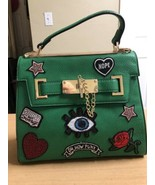 Aldo Euroline Satchel Bag Green With Graphic Patches New W/O Shoulder St... - $41.87