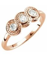 Diamond Three-Stone Bezel-Set Ring In 14K Rose Gold (1/3 ct. tw - $716.19
