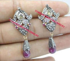 925 Sterling Silver Antique Rose Cut Gemstone Ruby & Citrine Dangle Earr... - $221.60