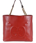 Gucci Embossed GG Dadini Apollo Red Leather Tote with Chain - $2,200.00