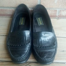 BAXTER men sz 10M dress shoes black tassel loafer woven leather handmade... - $21.68
