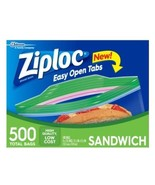 "NEW ZIPLOC 500 Sandwich Bag Smart Zip (4 x 125ct) 6 1/2"" x 5 7/8"" - $22.99"