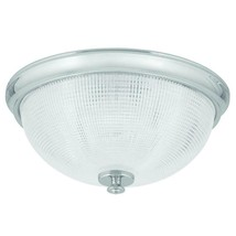 Lucky Collection 1-Light Polished Chrome Flush Mount with Clear Double Prismatic - $49.49