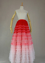 Bridal Tiered Tulle Skirt Outfit A-line Full Tulle Wedding Party Skirt,Red white image 7