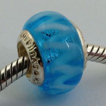 Authentic Lovelinks Pastiche  Blue White Zigzag Murano Glass Bead Charm,... - $14.24